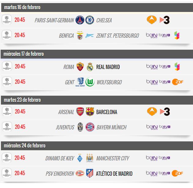Partidos octavos de final Liga de Campeones