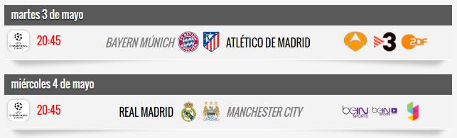 Horarios vuelta semfinales Champions League