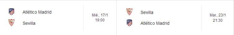 Horarios de la eliminatoria de Copa del Rey Atlético de Madrid - Sevilla