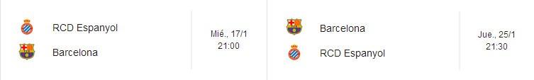 Horarios de la elimiinatoria de Copa del Rey Espanyol - Barcelona