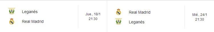 Horarios de la eliminatoria de la Copa del Rey Leganés - Real Madrid