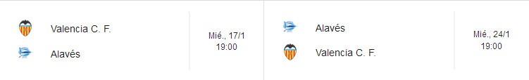 Horarios de la eliminatoria entre Valencia - Alavés
