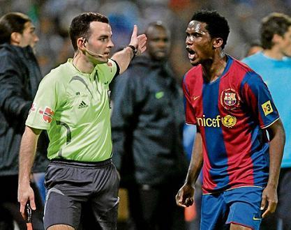 Etoo marcó dos goles fente al Recreativo de Huelva