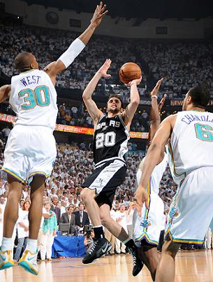 Manu Ginobili fue decisivo en el septimo partido de la serie entre Spurs y Hornets