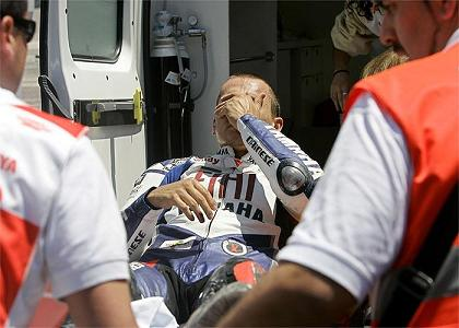 Jorge Lorenzo sufrio una caida en Montmeló