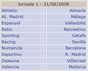 Calendario de la Primera Jornada de Liga