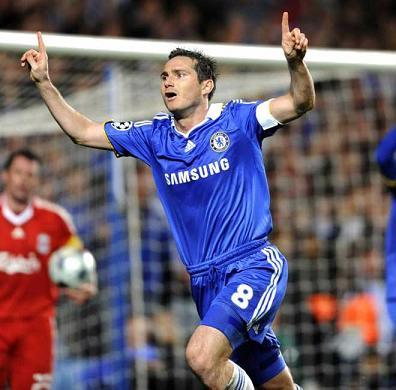 Lampard marco dos goles en el partido entre Chelsea y Liverpool