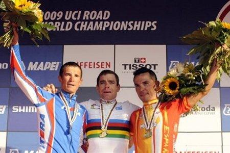 Cadel Evans, nuevo campeón del mundo, y bronce para Rodríguez