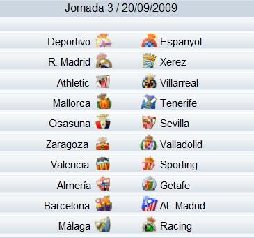 Liga Española 2009/2010 1ª División: previa, horarios y retransmisiones de la Jornada 3