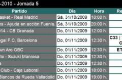 Liga ACB Jornada 5: previa, horarios y retransmisiones
