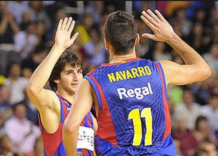 Navarro y Ricky Rubio en la victoria del Barcelona ante el Caja Laboral de Baskonia