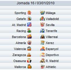 Partidos de la Jornada 16 en Primera Division