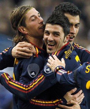 David Villa y Sergio Ramos fueron los goleadores de España ante Francia