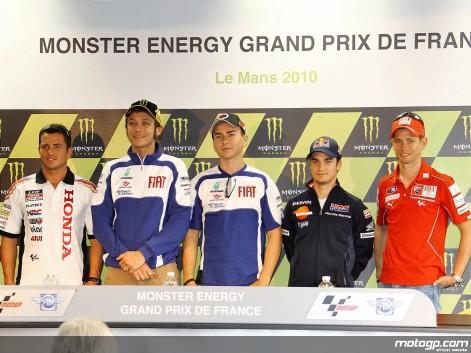 Los pilotos de MotoGP en LeMans