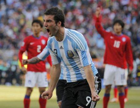 Higuiaín anotó un hat trick en la victoria de Argentina sobre Corea del Sur