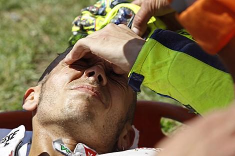 Rossi se fue al suelo en Mugello