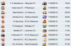 Liga Española 2010/11 1ª División: horarios y retransmisiones de la Jornada 2
