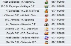 Liga Española 2010/11 1ª División: horarios y retransmisiones de la Jornada 10 con Real Madrid-Atlético, Getafe-Barcelona y Sevilla-Valencia