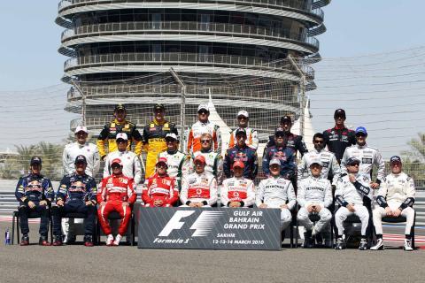 Pilotos de F1 en la foto de la temporada 2010