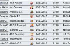 Liga Española 2010/11 1ª División: horarios y retransmisiones de la Jornada 11 con Barcelona-Villarreal y Sporting-Real Madrid