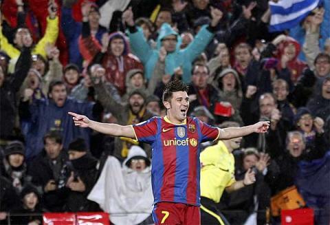 Villa hizo doblete ante el Real Madrid