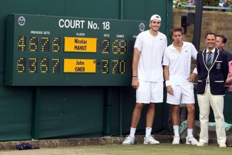 Marcador del partido entre Isner y Mahut en Wimbledon