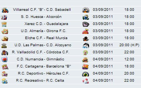 Liga Española 2011/12 2ª División: previa, horarios y retransmisiones de la Jornada 3