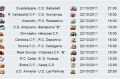 Liga Española 2011/12 2ª División: previa, horarios y retransmisiones de la Jornada 10