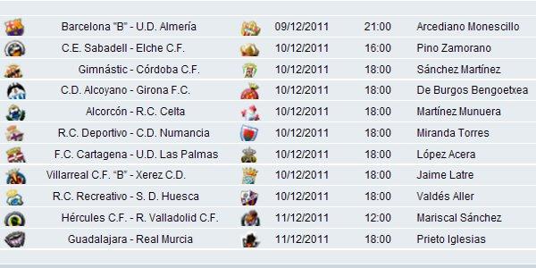 Horarios y partidos Jornada 17 Segunda División
