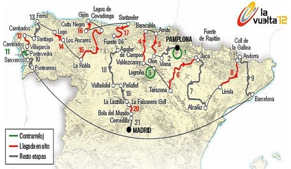 Recorrido de la Vuelta a España 2012
