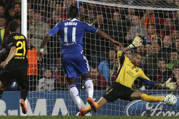 Drogba marcó el único gol en el Chelsea - Barcelona