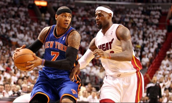 Lebron y Melo en acción