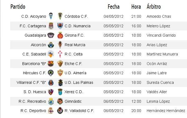 Horarios Segunda División Jornada 37