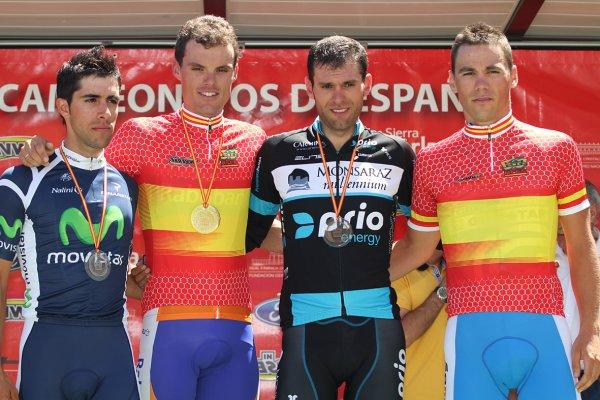 El podio del campeonato de España contrarreloj de 2012