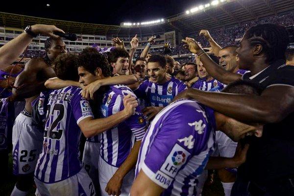 Los jugadores del Valladolid celebran el ascenso a Primera División