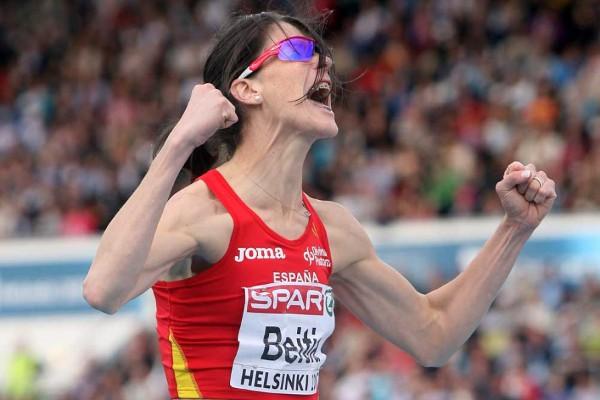 Beitia celebrando el salto con el que conseguía la medalla de oro