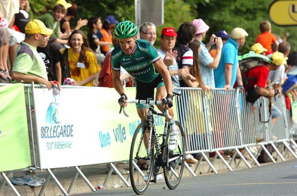 Thomas Voeckler ganando la décima etapa del Tour 2012