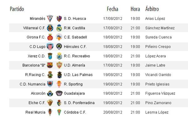 Horarios de la Jornada 1 en Segunda División