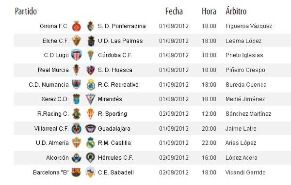 Horarios Segunda División Jornada 3