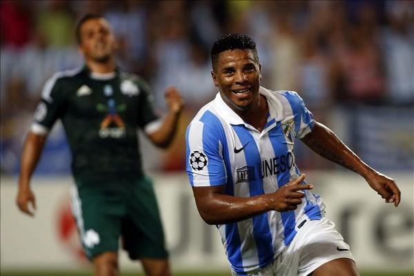 Eliseu marcó el segundo gol del Málaga ante el Panathinaikos