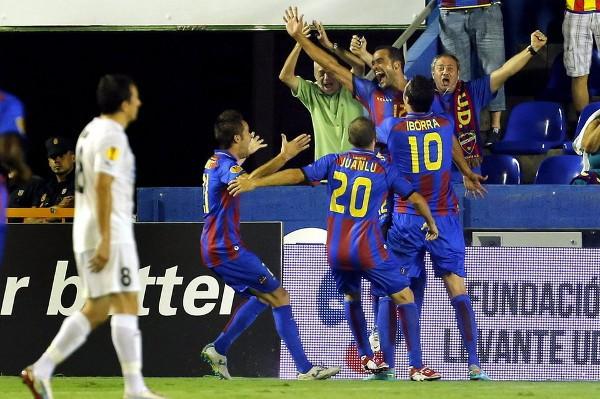 Juanfran marcó el gol de la primera victoria del Levante en la fase de grupos