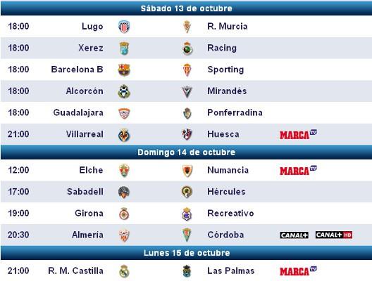 Horarios y retransmisiones de la Jornada 9 en Segunda División