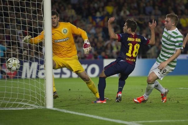 Jordi Alba marca el gol de la victoria frente al Celtic de Glasgow