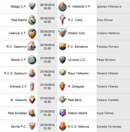 Liga Española 2012-13 1ª División: retransmisiones y horarios de la Jornada 8