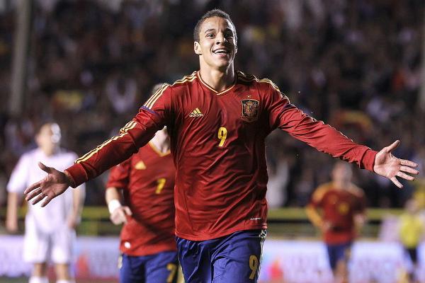 Rodrigo metió cuatro goles a la selección de Dinamarca con la sub 21