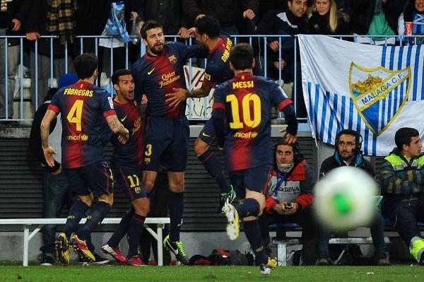 Piqué celebró su paternidad con un gol ante el Málaga