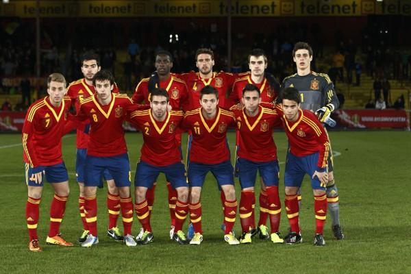Formación de España sub 21 en Bélgica
