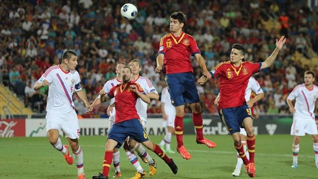 Morata marcando el gol de la victoria ante Rusia