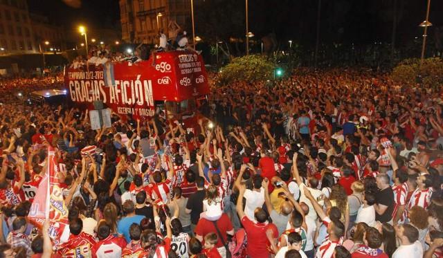 Celebración del ascenso del Almería