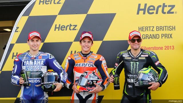 Márquez, Lorenzo y Crutchlow en Silverstone